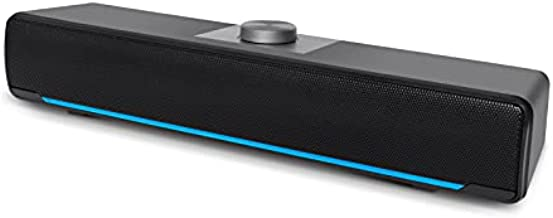 Computer Speakers, Phission 2.0 Stereo USB Powered Sound Bar Speakers with Blue LED Light and 3.5 mm Aux Connectionfor Computer Desktop Laptop PC Monitor(Upgrade)