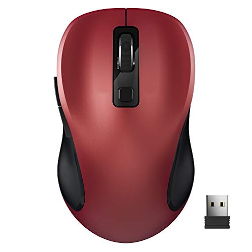 Raton Inalámbrico,  TedGem 2.4G Raton Inalambrico Portatil Mouse Raton Mouse Inalambrico Raton Gaming con Receptor USB Nano,  6 Botones,  para PC/Tablet/Laptop y Windows/Mac/Linux,  Office Home (Rojo)