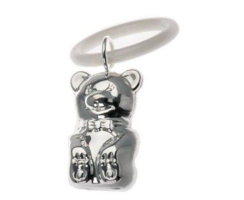 silberkanne Kinderrassel mit Beissring Teddy L 7cm Silber Plated in Premium Verarbeitung