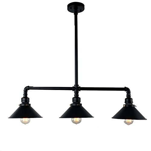 UNITARY BRAND Black Antique Rustic Metal Shade Hanging Ceiling Pendant Light Max. 120W With 3 Lights Painted Finish