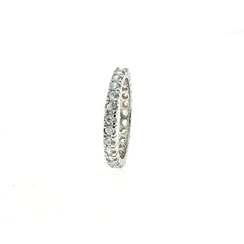 Anello Veretta con zirconi da 2mm in argento 925 sterling anallergico placcato oro bianco (18)
