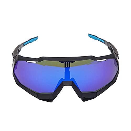 Zhixing Gafas Deportivas al Aire Libre Gafas para Montar en Bicicleta Gafas de Sol con protección Ocular para Motocicleta de Marco Completo,Black Frame Blue,A