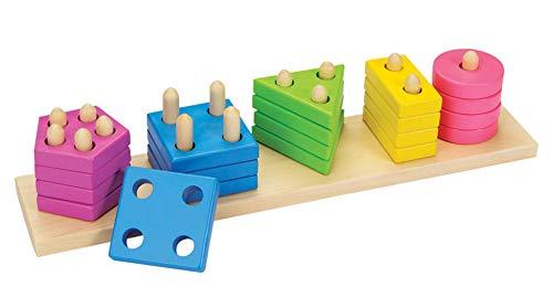 Lalia Steckspiel aus Holz mit Steckbausteinen bunt Holzspielzeug Steckpuzzle Motorik Motorikwürfel Geschenk für Kleinkinder Kinder ab 3 Jahren Spielzeug Holzpuzzle