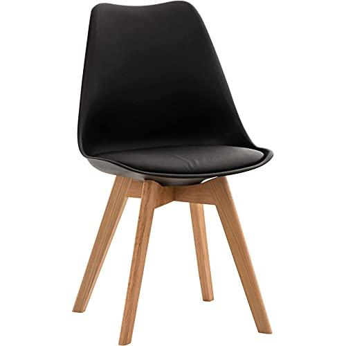 DPPAN Conjunto de 2 sillas, Silla de Comedor, Sillas Madera nórdicas con Patas de Madera y Asiento Acolchado Suave, Respaldo ergonómico,Black