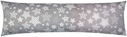 Heubergshop Baumwoll Renforcé Seitenschläferkissen Bezug 40x145cm - Sterne mit Herzen und Streifen in Grau und Weiß - 100% Baumwolle Stillkissenbezug (KY-500-1)