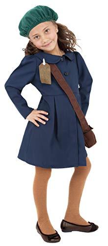 Smiffys Tweede Wereldoorlog Evacuee meisje kostuum, jurk, hoed en tas