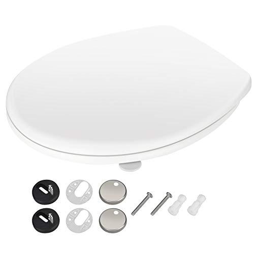 Rovtop Toilettendeckel Premium oval Klodeckel mit Softclose Absenkautomatik, Antibakterielle Klobrille aus Duroplast und rostfreiem Edelstahl WC-Brille