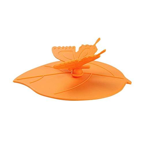 Forma Foglia Silicone Coppa Antipolvere Silicone Coppa Guarnizione Coperchio in Vetro Ceramica Tazza di plastica cap - Arancione Orange