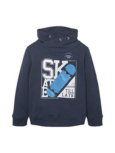 TOM TAILOR Jungen Strick & Sweatshirts Sweatshirt mit Kragen und Paillettenmotiv Dress Blue|Blue,104/110