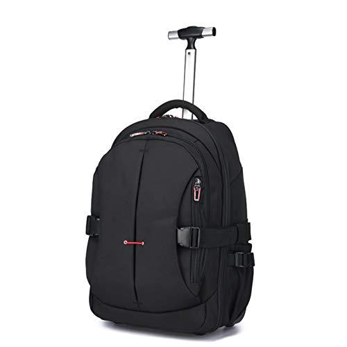 College Rucksack & Trolley Kit Bag, Cabin Trolley Backpack | 20-35 Liter Volumen Rucksacktrolley zum ziehen mit Laptopfach für Schule, Uni, Reisen, Ausflüge Oder Einkaufen,Nero,21in