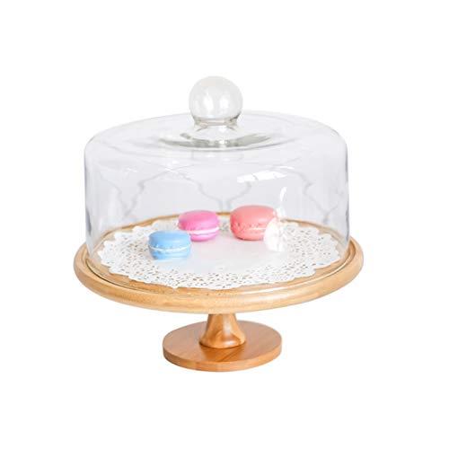 JISHIYU Soporte multifuncional de la torta con la cúpula de la torta de vidrio, plato de la porción de madera, soporte de pastel de bandeja de pastel reutilizable, plato de ensalada, plato, bollo de p