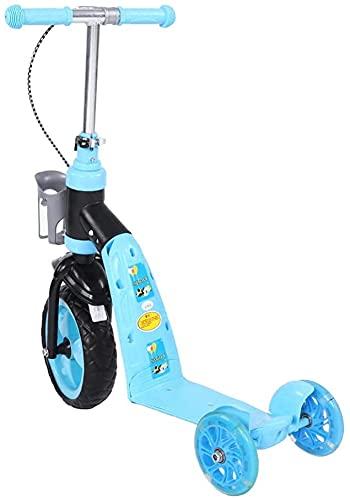 Scooter Patinete Equilibrio de altura ajustable de 3 ruedas Kick Scooter Regalo de cumpleaños para niños Juguetes deportivos divertidos EIIDJFF 612(Color:Blue)
