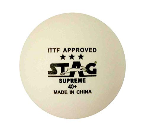 STAG 3 Star Supreme Table Tennis Plastic Ball Pack of 3 (White)