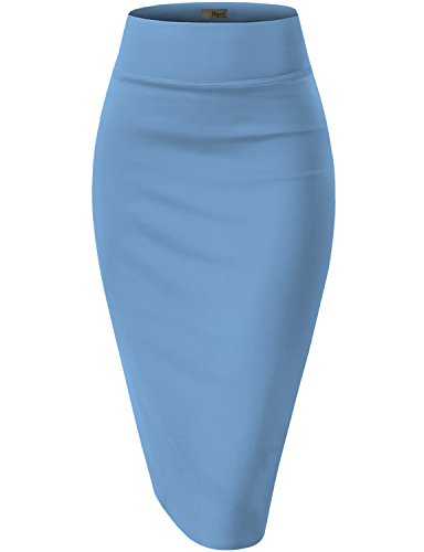 Womens Pencil Skirt for Office Wear KSK43584X 1139 Blue 2X