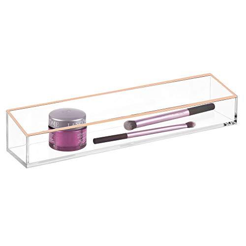 mDesign Cosmetische opbergdoos – Praktische make-up box voor lippenstift, oogschaduw, borstels en meer – Plastic make-up opslag voor laden en ijdelheid eenheid – Clear/Rose Gold