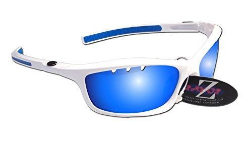 Rayzor profesionales ligeros UV400Blanco Deportes Wrap Running Gafas de sol, con un con ventilación Azul Iridium espejo antideslumbrante lente