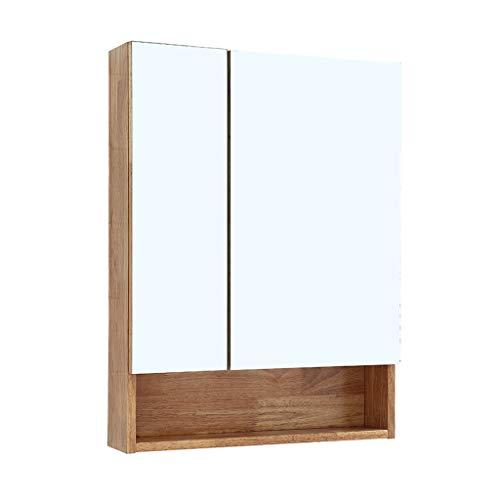 Armoires avec miroir Armoire de Toilette en Bois Massif Casier Mural Miroir de Toilette Miroir Mural Miroir De Rasage pour Hommes Miroirs de Salle de Bain (Color : Wood, Size : 80 * 14 * 80cm)
