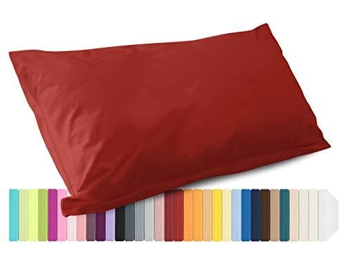 Schlafgut Mako Jersey Spannbetttuch 15001 oder  Kissenbezug 15101 - Baumwolle 406.463, kirsche, Kissenbezug 40 x 80 cm