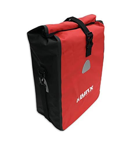 Fahrradtasche für Gepäckträger Wasserdicht   Schwarze/Rote PVC Packtasche für E-Bike & Fahrrad/Mountainbike   mit Schultergurt   Wasserfest, Sicher & Faltbar (16 Liter, Rot)