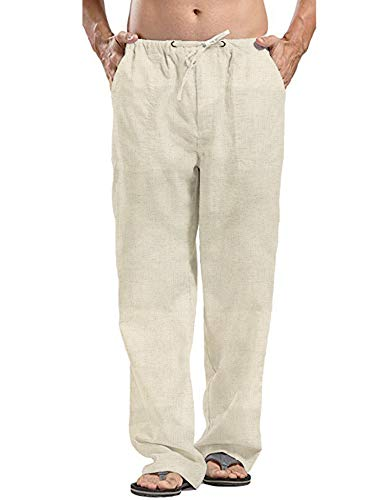 COOFANDY Men Linen Yoga Beach Cool Long Pants Stretchy Drawstring Waist Trousers