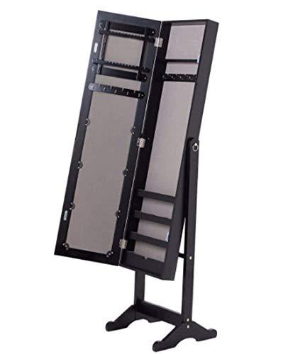 AWQ Goplus 144 x 34 x 37 cm Jewelry Armoire Mirrored Wood Cabinet Necklace Organizer Rechteck Make Up Mirrors Storage Box HB84438