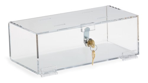 Clearform ML4616 Clear Acrylic Single Lock Medical Box with Keys, Medium