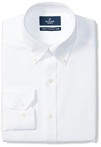 "Amazon Brand - Buttoned Down Men's Tailored-Fit Button Collar Pinpoint Non-Iron Dress Shirt, White, 16.5"" Neck 34"" Sleeve"