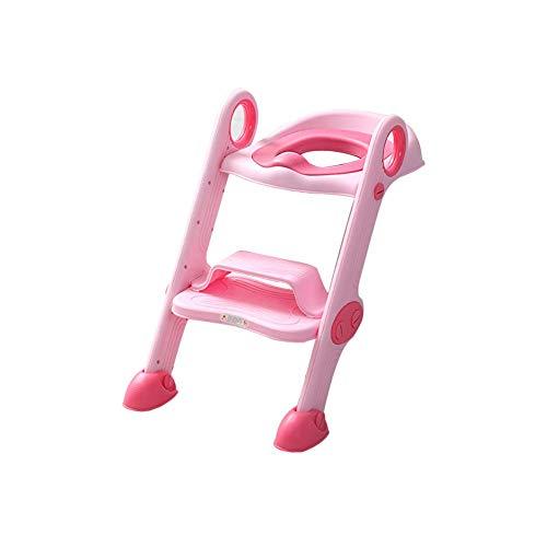 Jieer-C Ergonomische potjesbril, wc-bril voor potten van kinderen, met trap, gevoerd, antislip, gemakkelijk te reinigen, geschikt voor jongens en meisjes Roze.