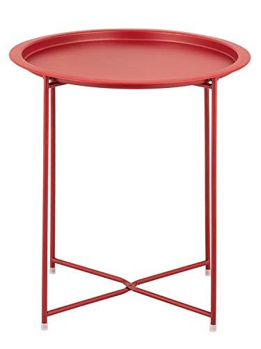 Beistelltisch Gartentisch Balkon Tisch Terassentisch rund Alberta Metall wetterfest zusammenklappbar Farbe rot - Chili