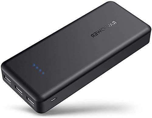 Power Banks RAVPower 22000 Portable Charger 22000mAh 5.8A Output 3-Port Battery Pack (2.4A Input, iSmart 2.0 USB Ports, Li-polymer Battery Banks) Portable Battery Charger For Smartphone Tablet – Black