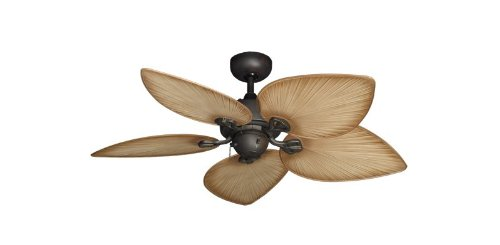 "Bombay Tropical Ceiling Fan in Oil Rubbed Bronze with 42"" Tan Blades"