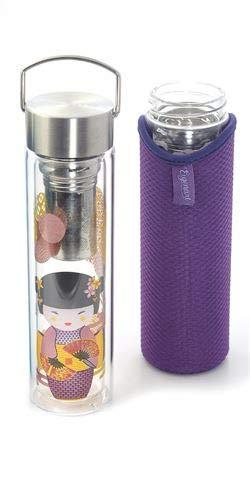 Cha Cult Flowtea New Little Geisha Doppelwandiges Glas mit Edelstahlsieb, inklusive Neoprenhülle mit Trageschlaufe, im attraktiven Geschenkkarton, 0,35 l