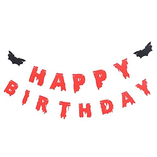 VALICLUD Cumpleaños Decoración de Halloween Feliz Cumpleaños Halloween Banner de Miedo Y Sangre para Halloween Zombie Vampiro Fiesta Roja