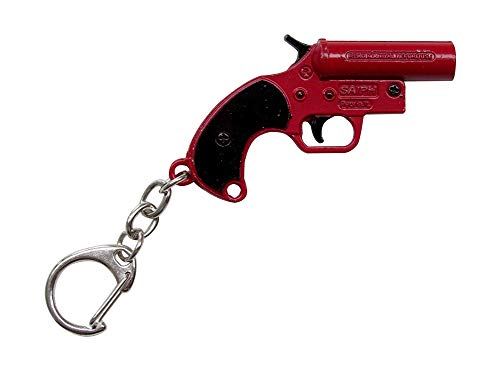 Sleutelhanger sleutelring pistool alarm alarminstallatie survival rood en zwart.