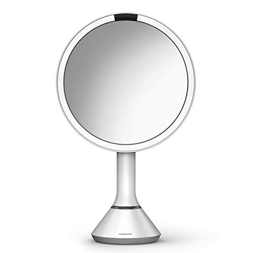 """simplehuman 8"""" Round Sensor Makeup Mirror with Touch-Control Dual Light Settings, 5X Magnification, Rechargeable and Cordless, White Stainless Steel"""