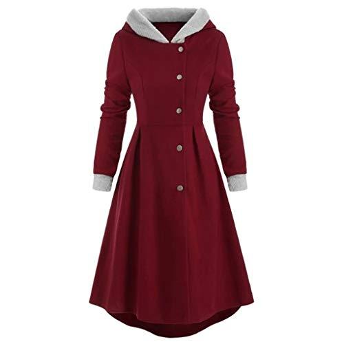 Xinantime Vrouwen Hooded Lange Jas, Dames Vintage Plus Size Knop Trim Lange Mantel Effen Winter Slim Warm Bovenwerk L-5XL