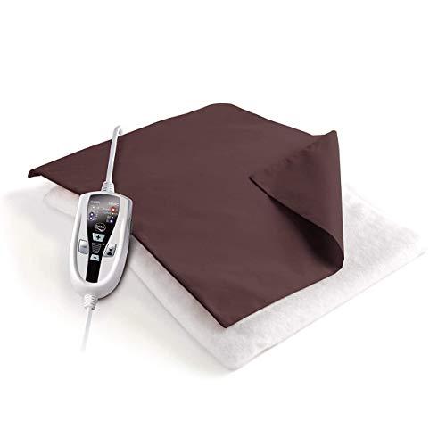 Daga - Almohadilla L2, Lujo Doble, 110W, 46X34, Autoestop, Programa Confort, 2Tiempos Programables, Autotest, Calentamiento Rapido, Funda Textil 100% Algodon, Marrón