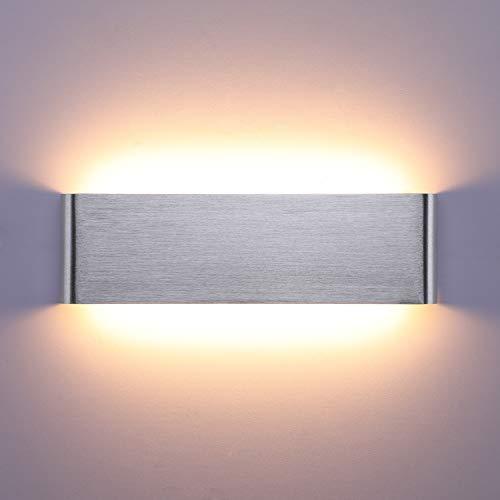 Lightess 16W Wandleuchte Innen LED Treppenhaus Lampen Moderne Wandlampe Silber mit Up Down Licht IP44 aus reinem Aluminium für Wohnzimmer Schlafzimmer FlurTreppen usw, Warmweiss