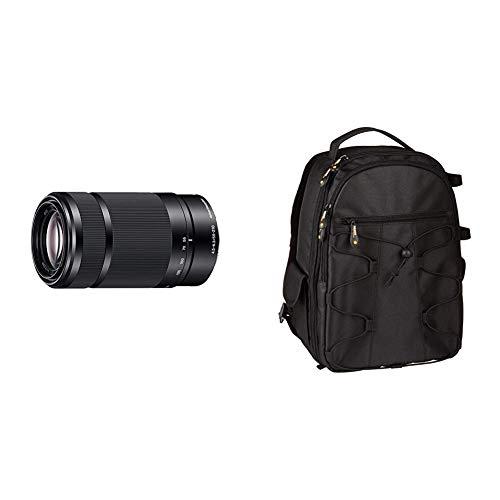 Sony SEL-55210 Tele-Zoom-Objektiv (55-210 mm, F4.5–6.3, OSS, APS-C, geeignet für A6000, A5100, A5000 und Nex Serien, E-Mount) schwarz & AmazonBasics DSLR-Kamerarucksack