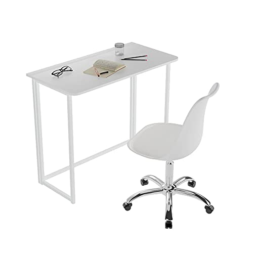 Recmaikon 2 Piece Folding Desk and Chair Set for Small Spaces Foldable Desk & 360°Swivel Chair for Office Home Working Computer Desk and Chair Set White/Black