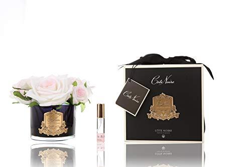 Cote Noire geparfumeerd vijf blush rozen in een zwart glas vaas - wit blush