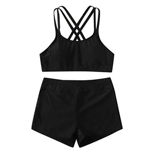 QingJiu Damen Einfarbig Kreuz Push Up Padded Bikini Hohe Taille Badeshorts Bademode Zweiteiliger Badeanzug Beachwear Set