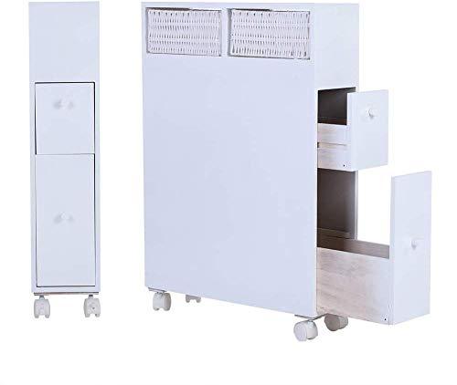 Dljyy vrijstaande badkamerkast, badkamerkast, houten kast, wc vloer, rollend opbergwagen, Oraganizer met 2 laden, wit