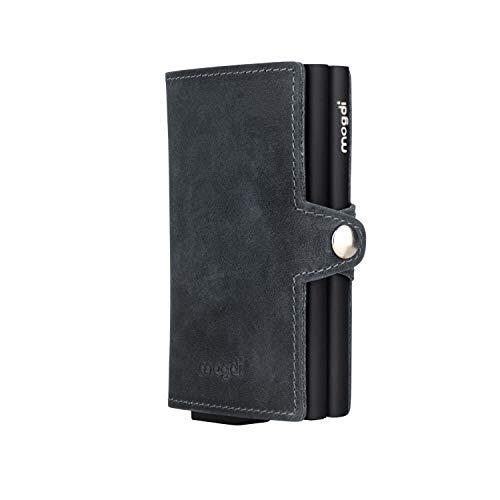 mogdi Duo Black Premium Herren Portmonee RFID Schutz Kartenetui Business Geldbörse feinstes A++ Echtleder Wallet Geldbeutel (schwarz)