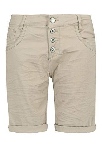 Sublevel Damen Bermuda-Shorts mit Aufschlag & Knopfleiste Light-beige L