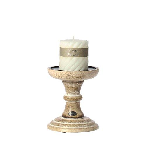 Riverdale Rowan Kandelaar van hout naturel/wit 20 cm Vintage - Kandelaar - Decoratie idee - Kerstdecoratie - Kerstmis - Winter
