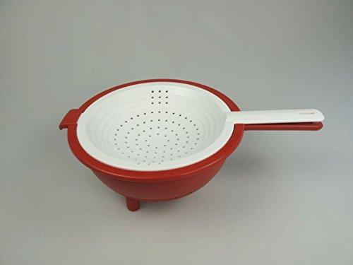 TUPPERWARE Küchenhelfer Sieb Saladin rot-weiß Sieb mit Abtropfsieb Multi-Sieb 9880