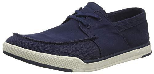 Clarks Herren Step Isle Base Sneaker, Blau (Navy Canvas Navy Canvas), 46 EU