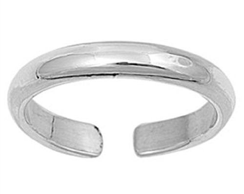 925 Sterling Silver Toe Or Midi Finger Ring. Plain Adjustable Band. Brand New.