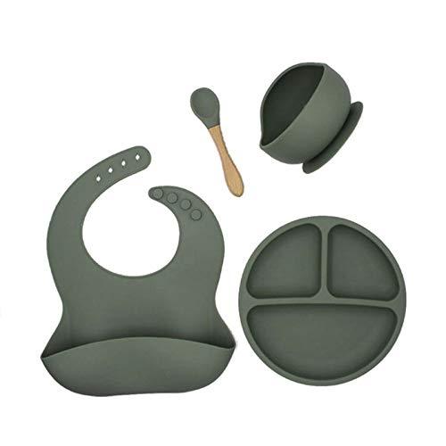 Moligh doll 4 StüCk/Set BPA Frei Baby Silikon Geschirr Wasserdichtes L?Tzchen Einfarbig Teller Sucker SchüSsel und L?Ffel Avocado GrüN